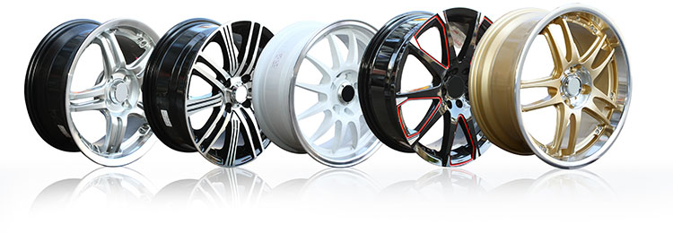 alloy wheels in a row